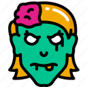 dead, evil, female, halloween, zombie icon