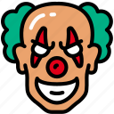 clown, evil, halloween, jester, laugh icon
