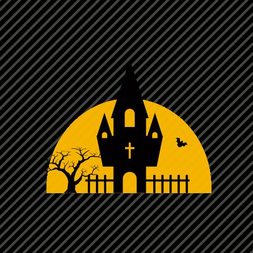 building, castle, death, festival, fortress, halloween, horror icon
