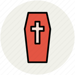 christian coffin, dead body box, funeral, funerary box, halloween casket, halloween coffin icon