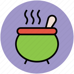 cauldron, cooking pot, cookware, spoon, witch potion icon