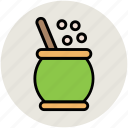 cauldron, cooking pot, mortar, pestle, witch cauldron icon