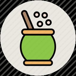 cauldron, cooking pot, mortar, pestle, witch cauldron icon