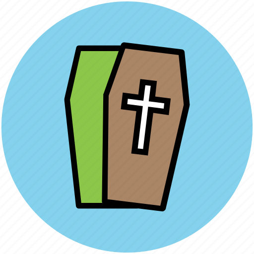 christian coffin, dead body box, funeral, funerary box, halloween casket, halloween coffin icon