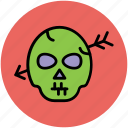 archery on head, dreadful, fearful, halloween skull, horrible, horror, skull icon