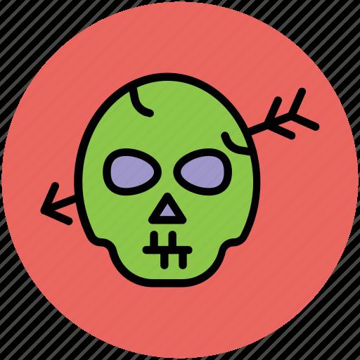 archery on head, dreadful, fearful, halloween skull, horrible, horror, skull icon