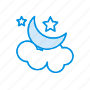 cloud, moon, night, star icon