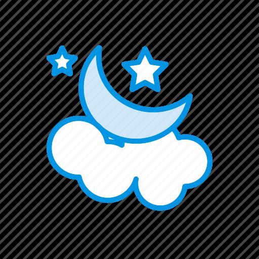 cloud, moon, night, star icon