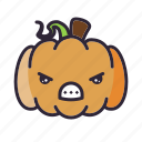 angry, halloween, lantern, pumpkin icon