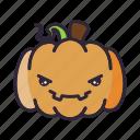 angry, halloween, lantern, pumpkin, terror icon