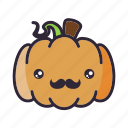 halloween, hipster, lantern, moustache, pumpkin icon