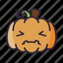 halloween, lantern, pumpkin, sad icon