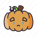 cry, halloween, lantern, pumpkin, sad icon