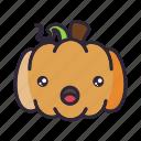 halloween, lantern, pumpkin, surprised icon