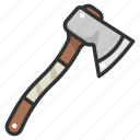 ax, axe, carpenter, carpentry, halloween, weapon, wood cutting icon