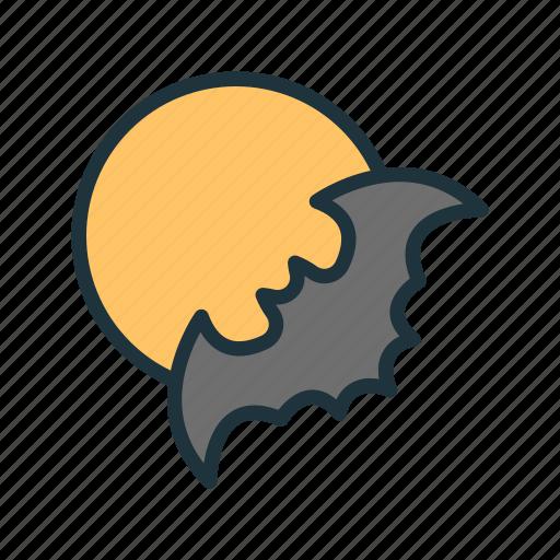bat, batman, halloween, moon, night, scary, spook icon