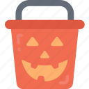 bucket, candy, evil, halloween, sweet, trick or treat icon