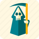 celebration, cemetery, death, halloween, robe, scary, scythe icon