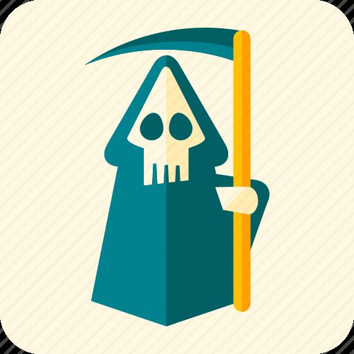 celebration, cemetery, death, halloween, robe, scary, scythe icon