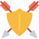 arrow, fairy tale, fantasy, halloween, legend, myth, shield icon