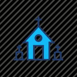 building, castle, catholic, church icon