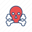 danger, halloween, skeleton, skull icon
