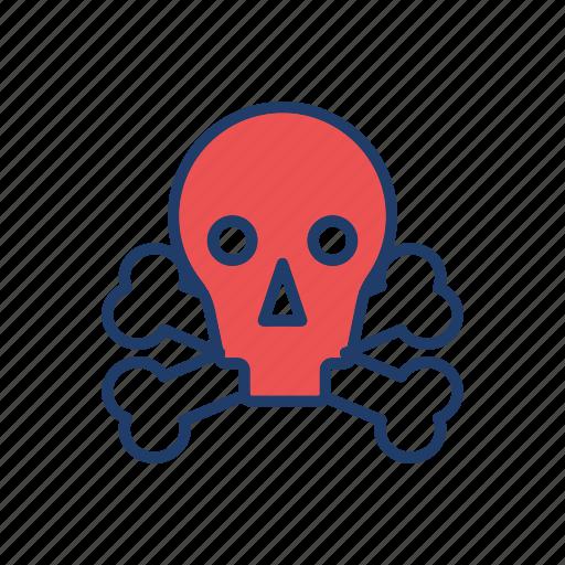 danger, halloween, skeleton, skull icon