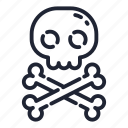 bone, dead, halloween, holiday, horror, skeleton, skull icon