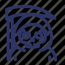 halloween, spooky, reaper, ghost, horror, scary icon