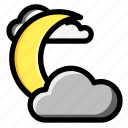 cloud, moon, moonlight, night, weather icon