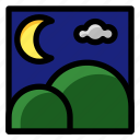 moon, mountain, night, season, time, view icon