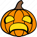 halloween, holiday, pumpkin, scared, vegetable icon