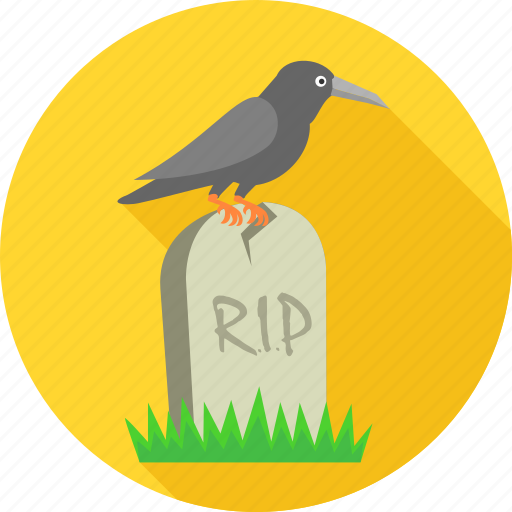 cemetery, crow on grave, dead, death, graveyard, rest in peace, rip icon
