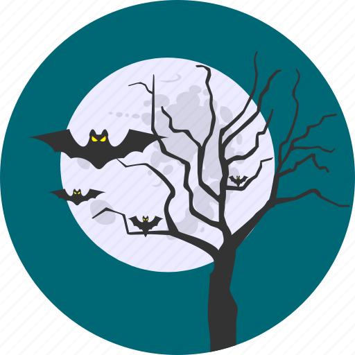 bat, forest, fullmoon, moon, nature, night, sky icon