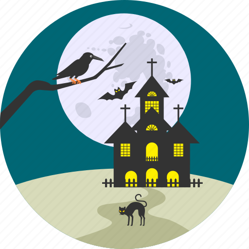 building, haunted, home, house, night, scary, scene icon