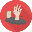 dead, ghost, halloween, hand, monster, rip, scary icon