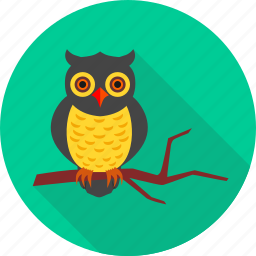 animal, forest, halloween, night, owl, tree, wild icon