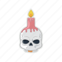 candle, halloween, head, skull icon