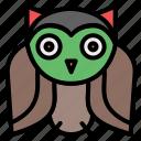 bir, crow, fear, owl, owl bird, raven, scary icon
