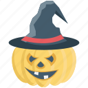 dreadful, fearful, halloween pumpkin, hat, horrible, scary icon