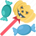 candy, halloween, lollypop, pumpkin, toffee icon