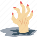 dead man, evil hand, ghost hand, grave hand, scary, spooky, zombie hand icon