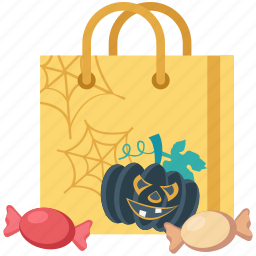 candy, halloween, halloween bag, pumpkin, pumpkin bag, toffee icon