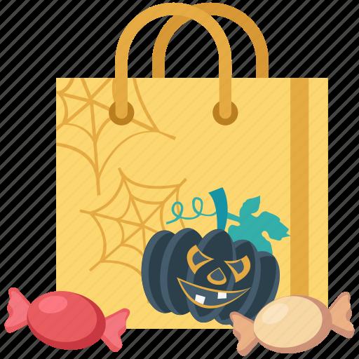 candy, halloween, halloween bag, pumpkin, pumpkin bag, toffee icon