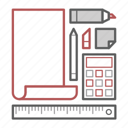 calc, office, paper, pencil, ruler, stationery, sticker icon