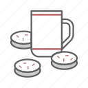 break, coffee, cookies, drink, mug, snack, tea icon