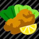 fried chicken, karaage, lemon, side dish, snack icon