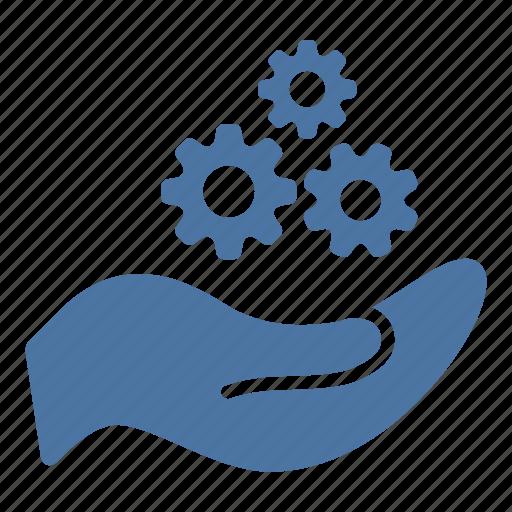 cogwheel, configuration, creation, gears, hand, settings icon