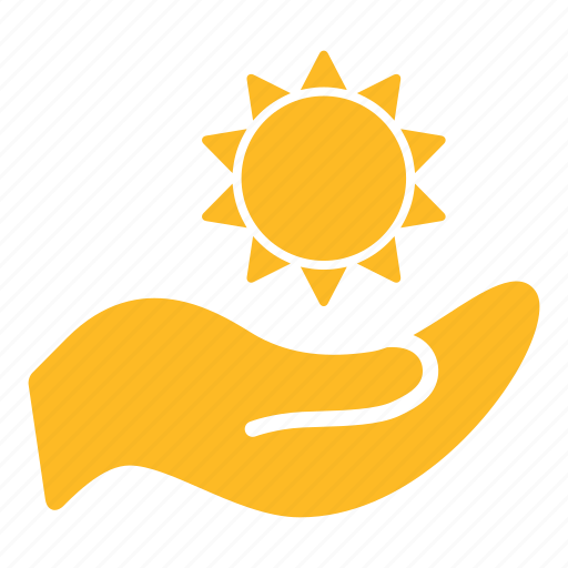 brightness, clean energy, energy, environment, hand, illumination, sun icon