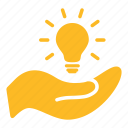 bulb, creation, electricity, hand, idea, invention, light icon